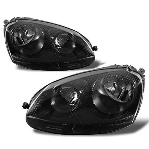 SPPC Black Headlights Assembly Set For VW Volkswagen Golf Jetta Rabbit MK5 - Passenger Right and Driver Left Side Replacement Headlamp