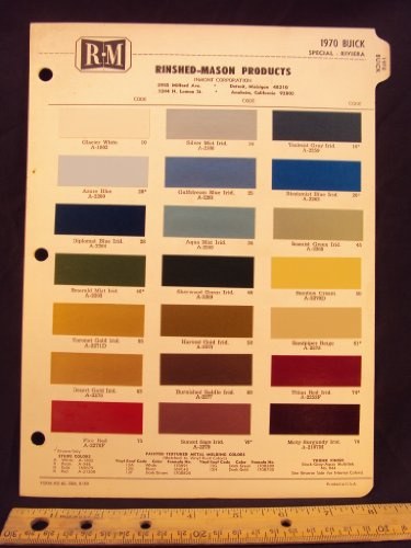 1970 BUICK Special & Riviera Paint Colors Chip Page