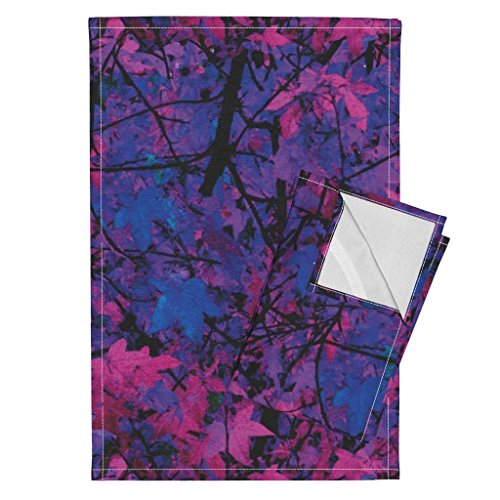 Roostery Trees Leaves Nature Photographic Camouflage Fuschia Magenta Tea Towels The Wild Wood ~ Tropical by Peacoquettedesigns Set of 2 Linen Cotton Tea Towels by Roostery (Image #1)