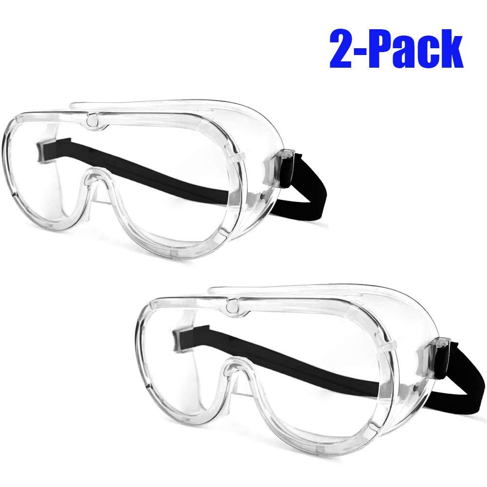 ORSEN Gafas protectoras gafas de campo completo antivaho anti-sellado gafas de protección para los ojos gafas transparentes gafas de arco laboratorio médico química niños adultos(2 Pack)