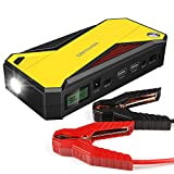 DBPOWER 600A Peak 18000mAh Portable Car Jump Starter (up to 6.5L Gas, 5.2L Diesel Engine) Battery Booster with Smart Charging Port (Black/Yellow)