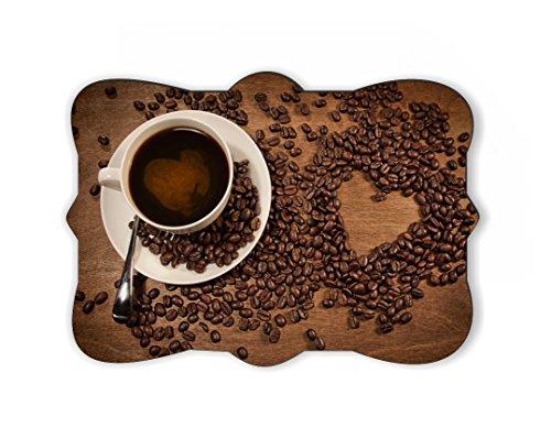 hape from coffee beans on wood Design Ornate Decorative Rectangular Shaped Fridge Magnet ()