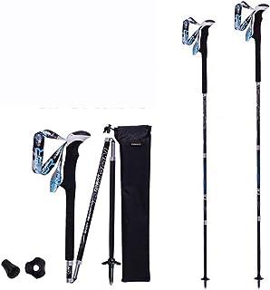 ZJX 2 Piezas de Fibra de Carbono Premium Trekking Postes Más Fuertes y más Ligeros Que Postes de Aluminio Bastones Plegables Senderismo Bastones Bastones Alpenstocks, 125cn ZJX-W