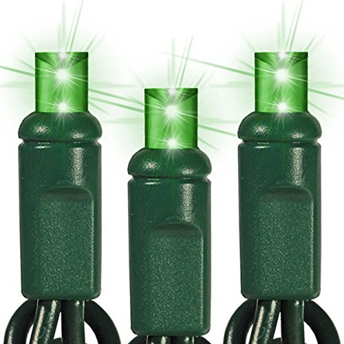 25 ft. Stringer - (50) Wide Angle LEDs - GREEN - 6 in. Spacing - Omni-Directional - Commercial Duty - Green Wire - 60 Set Connection