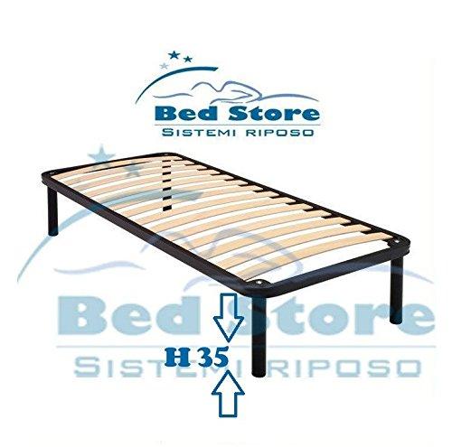 RETE LETTO SINGOLA 80X190 + CON PIEDI H35 FERRO DOGHE LEGNO MULTISTRAT STRETTE SUPER BED STORE