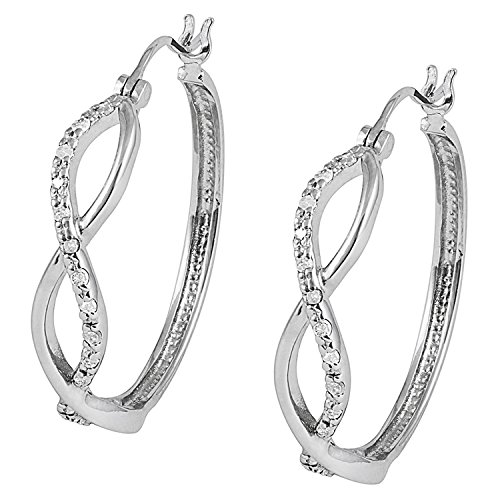 Fair Cut Round Diamond - JewelExclusive Sterling Silver1/4cttw Natural Round-Cut Diamond (J-K Color, I2-I3 Clarity) Infinity Snapback Hoop Earring