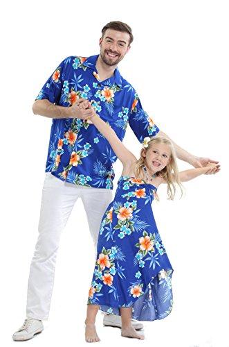 Matching Father Daughter Hawaiian Luau Cruise Outfit Shirt Dress Hibiscus Blue Men L Girl ()