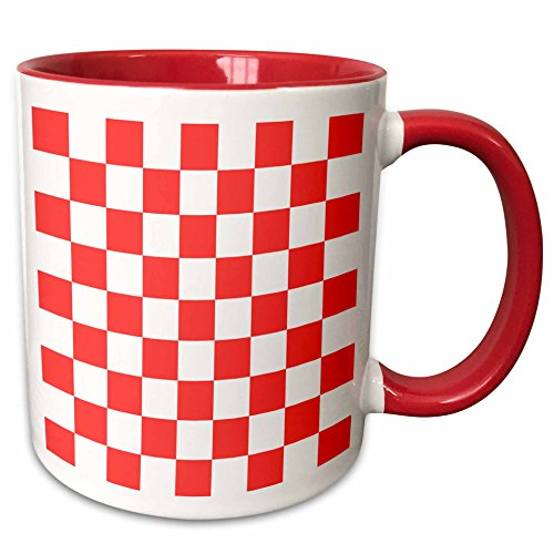 3dRose InspirationzStore patterns - Checkered red and white squares pattern - bold bright check checked checkerboard chessboard mosaic - 15oz Two-Tone Red Mug -