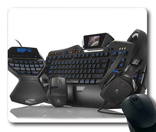 Custom Gaming Mouse Pad with Keyboard Game Headphones Mouse Pc Non-Slip Neoprene Rubber Standard Size 9 Inch(220mm) X 7 Inch(180mm) X 1/8(3mm) Desktop Mousepad Laptop Mousepads Comfortable Computer Mouse Mat