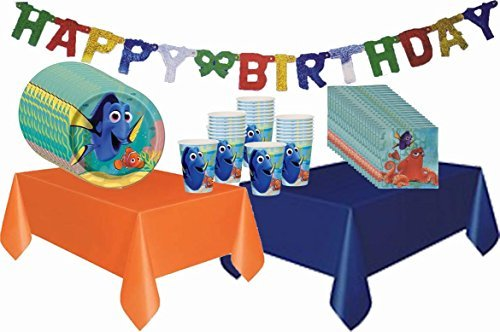 Disney Finding Dory Deluxe Party Pack For 20 (Orange 7' Plastic Plates)