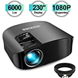 "Projector, GooDee 2020 Upgrade HD Video Projector 6000L Outdoor Movie Projector, 230"" Home Theater Projector Support 1080P, Compatible with Fire TV Stick, PS4, HDMI, VGA, AV and USB"