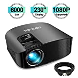 Projector, GooDee 2020 Upgrade HD Video Projector 6000L Outdoor Movie Projector, 230