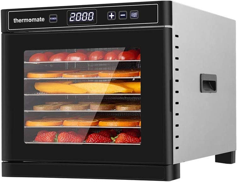Food Dehydrator Machine Electric, thermomate Stainless Steel Countertop Food Dryer 6 Trays with Digital Temperature Control and 24 hours Timer for Fruit, Beef Jerky, Meat, Vegetables 600W 110V