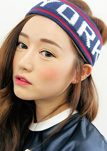 Navy Womens Sporty Hoops - Women Gift Personality Sets Hair Accessories Hair Hoop Sporty Fashion Letter wash Knit Headband Yoga Exercise (Newyork Navy
