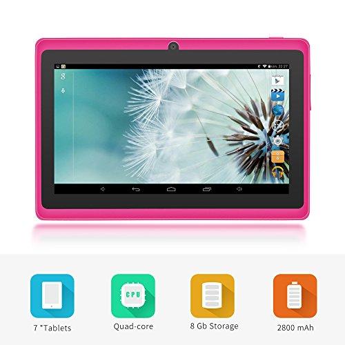Yuntab 8GB A88 Tablet 7 pulgadas WiFi Allwinner A33 Quad-Core HD 1024x600 Doble cámara Multi-touch Bluetooth Android 4.4 Google Play (Rosa): Amazon.es: ...