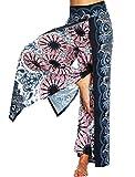 SEASUM Women's Boho Harem Pants Hippie Clothes Palazzo Casual Loose Yoga Outfits High Waisted Unisex L&XL