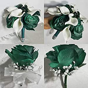Hunter Green Rose Calla Lily Bridal Wedding Bouquet & Boutonniere 110