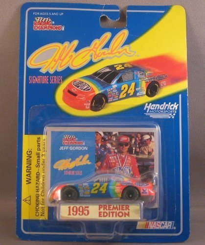 1995 Jeff Gordon  24 Dupont Rainbow 1/64 Scale Racing Champions Car With Photo Insert Premier Edition by Racing Champions