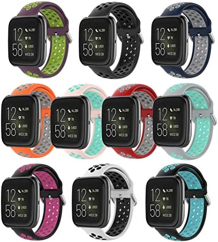 Huadea 10Packs Bands CompatibleFitbit Versa/Versa 2/ Versa Lite Two-Color Breathable Bands for Women and Men