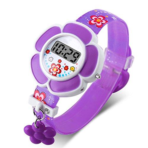 TOPCABIN Kid Children Girls Novelty Cute Flower Shape Digital Watch Purple