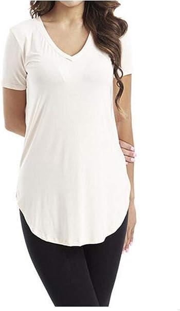 Odosalii Damen Sommer Kurzarm T-Shirt Pullover Rundhals Spitze Tunika Top L/ässige Oberteil Bluse Shirt