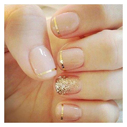 Stick On Nails (Dongcrystal 24Pcs/Set Bridal False Nails Set Full Cover Short Square Glossy Nude Pink with Golden Powder Fake Nail Tips)