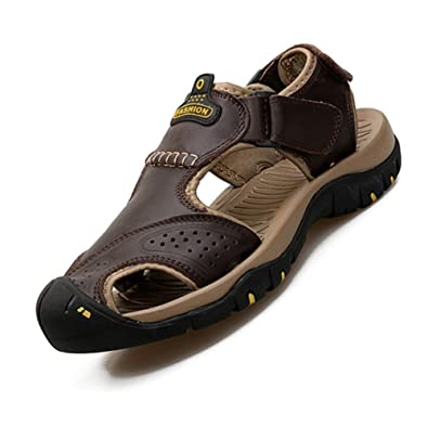 6690e4daeab7 Tenthree Men Shoes Sports Outdoor Sandals - Leather Walking Closed Toe  Trekking Beach Hook Loop Casual Summer Breathable Non Slip  Amazon.co.uk   Shoes   ...