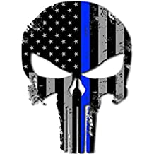 """2 Pack Punisher Skull Thin Blue Line Blue Lives Matter Flag Sticker 5x4"""" Vinyl Decal For Cars, Trucks Window RV SUV's & Boats Support Of Police And Law Enforcement Officers (2 Pack)"""