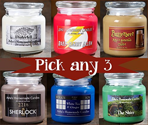 Geek Soy Candles - Set of 3 - 16 oz. Apothecary Jars - Choose your (Rivendell 3 Light)