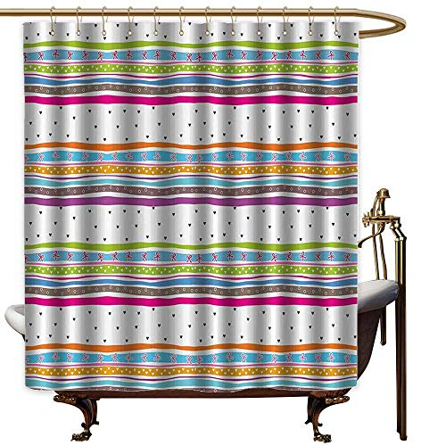 (Godves Kids Bathroom Shower Curtain,Striped Abstract Wavy Stripes Polkadots Ribbons Bows and Hearts Girly Patterned Artwork,Single stall Shower Curtain,W55x84L,Multicolor)