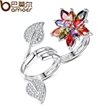 Bamoer Trendy Design 2 Finger Ring for Women Flower Shape with Colorful CZ Double Ring Suit for Finger of Size 7'/8' YIR034