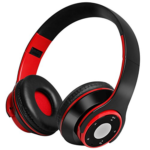 Wireless Bluetooth Headphones, Ucio Wireless Headset, Foldable Wired/Wireless Bluetooth Headphones Over Ear with Microphone for PC/Cell Phones/TV(Red) - Bt Wireless Notebook Mouse