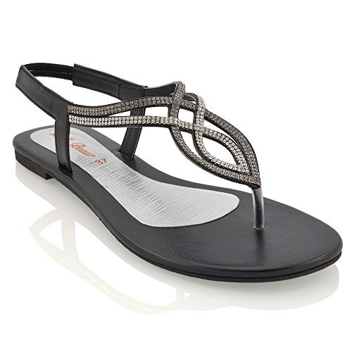 38774eed7b16 ESSEX GLAM Womens Flat T-Bar Diamante Black Synthetic Slingback Toepost  Sandals 11 B(M) US - Buy Online in UAE.
