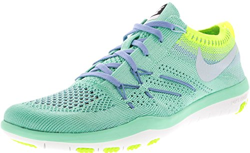 Nike Womens Omforma Fritt Flyknit Träningsskor Grön Glöd / Glacier Blue-volt