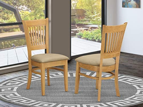 East West Furniture VAC-OAK-C Vancouver padded Parson Chair – Microfiber Upholstery Seat and Oak Hardwood upholstered dining chairs set of 2