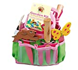 Tierra Garden 7-LP380 Little Pals Kids Junior Garden Kit with Hand Trowel, Hand Fork, Gloves, Plant Markers, and Bucket, Pink