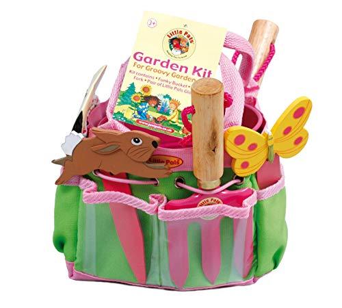 Tierra Garden 7-LP380 Little Pals Kids Junior Garden Kit with Hand Trowel, Hand Fork, Gloves, Plant Markers, and Bucket, Pink by Tierra Garden