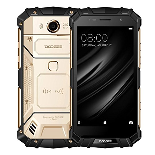 DOOGEE S60, Outdoor Phones - Android 7.0-5.2'' FHD Screen - IP68 Waterproof Dustproof Shockproof - Helio P25 Octa-core - 5580mAh - 6GB RAM + 64GB ROM - 8MP+21MP - Gold