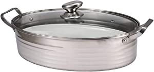 Premium Heavy Duty Stainless Steel Oval Fish Steamer Pot Set Wiht 8 Quart Cooking Pot, Ceramic Pan, Chuck,Vented Glass Lid for Steaming Fish, Boiling Soup, Roast Turkey