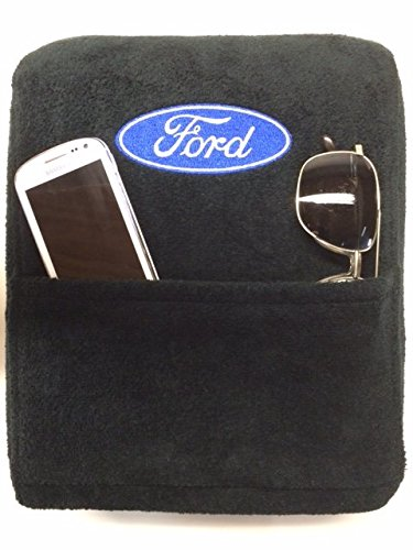 (Seat Armour Custom Fit Console Cover with Embroidered Logo for Select Ford F150 Models with Jump Seat - Cotton (Black) (Officially Licensed, Third Seats and Bench Seats))