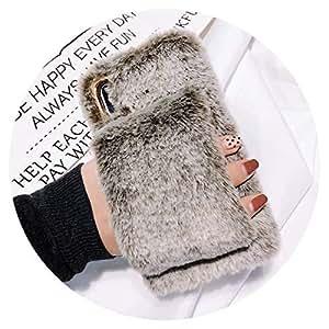 Amazon.com: Cute Fluffy Rabbit Fur Warm Case for iPhone Xs