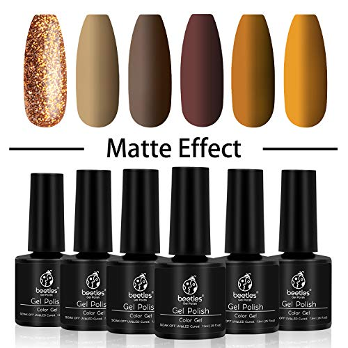 Beetles Fall Gel Nail Polish Set, Caramel Colors Series, 6 Colors Gel Polish Soak Off UV Nail Lamp LED Cured, 7.3ml Each Bottle for Nail Art Autumn Winter