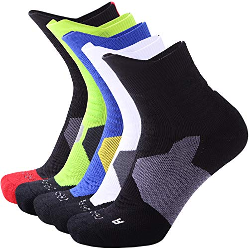 Thsbird Mens Thicken Outdoor Sport Cushion Elite Basketball Socks,Dri-Fit for Compression Athletic Crew Soxs Color 5Pack Style B Size ()