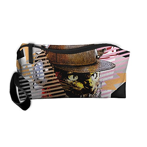 HSs4AD DJ Music Cool Cat With Sunglass Headset Awesome Cosmetic Travel Toiletry Makeup Bag Portable Pouch Hanging Organizer - Wish Sunglasses Headset