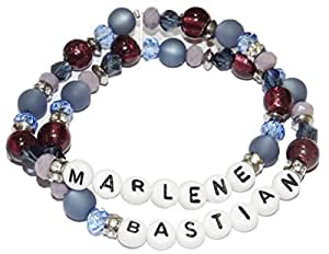 Hecho a mano ARTemlos Damen-pulsera con nombre, de acero inoxidable y perlas, 2reihig