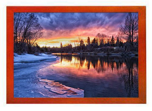 PUPBEAMO Art Print Picture Frame Photo Frames - Calgary Winter River Forest Trees - Frame Made of Solid Wood For Table Top (Walnut,9x7 -