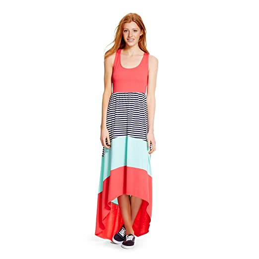 22012c5dc863 Mossimo Supply Co Women's Racerback High Low Blazing Coral Striped Maxi  Dress ...