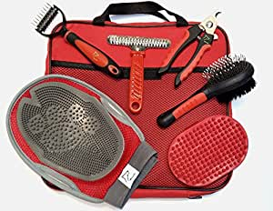 Grooming Tool Set for Dogs and Cats: Double Sided Brush, Rake Comb, Nail Clippers for Pet, Bath Brush, Dematting Comb for Undercoat Removal, 2-in-1 Pet Grooming Glove