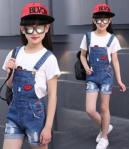 Big Girl's Denim Jumpsuit Boyfriend Jeans Cute Fashion Denim Romper Shortalls 9-10Years by Juakita Barpsa (Image #3)