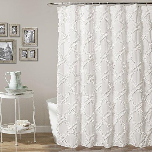 "Lush Decor, White Ruffle Diamond Shower Curtain | Textured Shabby Chic Farmhouse Style Design, x 72, 72"" x 72"""